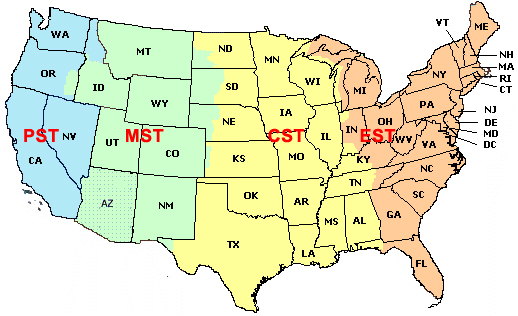 MBB Guest Information - Us time zone map with times